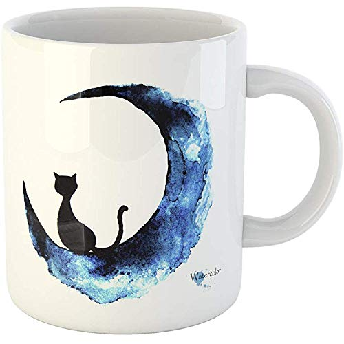 Funny Gift Personalized Coffee Mug Blue Halloween Watercolor Painting of Black Cat Sitting on the Moon Fantasy Abstract 11 Oz Ceramic Coffee Mug Tea Cup -