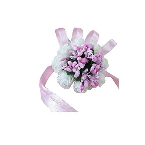 Wrist Corsage Bracelet Bridesmaid Sisters Hand Flowers Wedding Party Bridal Prom(Pink Flower + Blue Flower),Light Grey ()