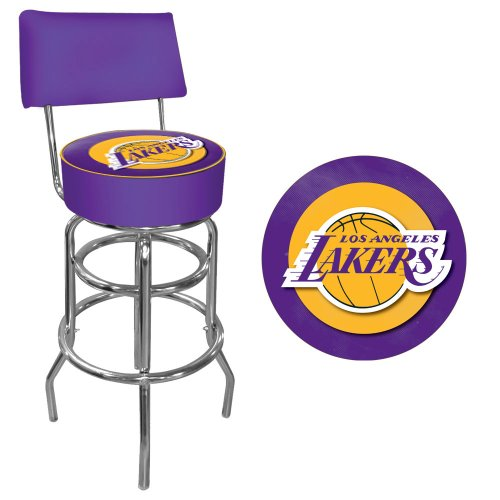 NBA Los Angeles Lakers Padded Swivel Bar Stool with Back by Trademark Gameroom