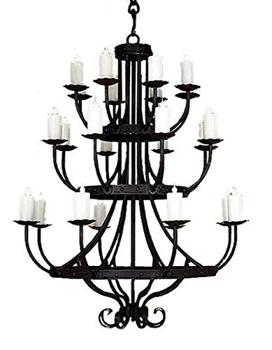"""3 Tier Hand Forged Iron Chandelier - 48 x 64"""""""