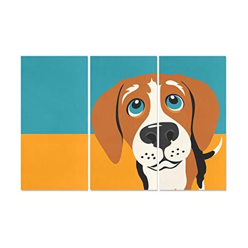 YUMOING 3 Panel Canvas Wall Art Illustration Beagle Dog Wall Art Canvas Prints Wall Decor for Home Living Room Bedroom Bathroom Wall Decor Posters 15