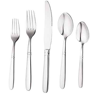 Bruntmor, CRUX Sterling Quality Silverware Royal 45 Piece Flatware Cutlery Set, 18/10 Stainless Steel, Service for 8 100% Rust Proof