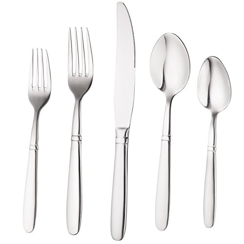Bruntmor, CRUX Silverware Royal 45 Piece Flatware Cutlery Set, 18/10 Stainless Steel, Service for 8 100% Rust Proof (Mirror 45 Piece Set)