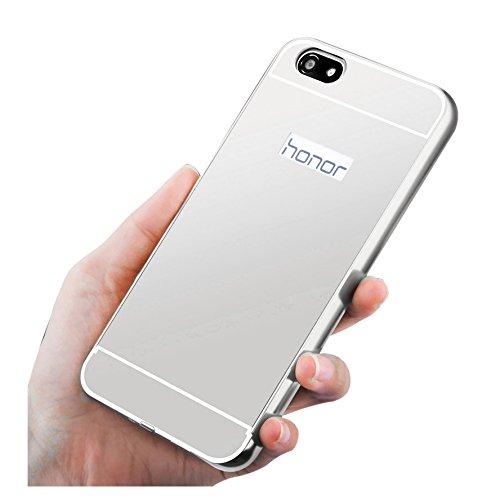 Huawei Honor 4X Funda de movil - TOOGOO(R)Aluminio Metal Tope Cubierta PC Funda trasera para HUAWEI Honor 4X Plata