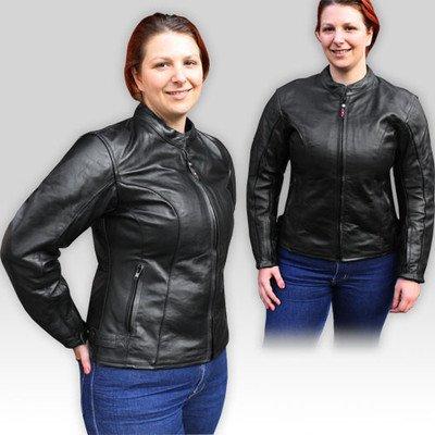 Zena Damen Motorrad Lederjacke CE Protektoren Schwarz