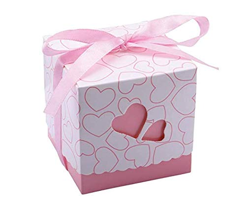 (Keyond 50 pcs 2.7-Inch Pink Wedding Favor Boxes for Wedding Party Birthday Candy Gifts Decorations Supplies Wholesale (Pink))