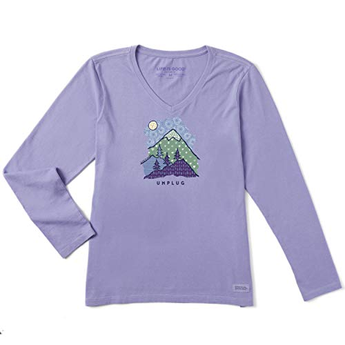 Life is Good Womens Long Sleeve Graphic T-Shirt Crusher Collection,Unplug,Moonstone Purple,Large (Graphic Crusher)