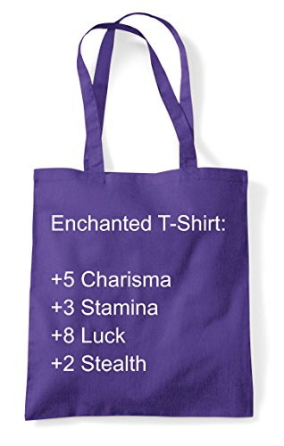 Gaming Tote Level Shopper Stats Enchanted Statement Up T Bag Progression Rpg Shirt Purple Character U8xxvqfI