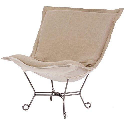 Howard Elliott 500-610 Scroll Puff Chair with Titanium Frame, Prairie Linen Natural