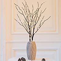 Twinkle Star 100 LED Lighted Brown Willow Branches 2 Pack Artificial Branches Waterproof Battery Operated with Timer for Indoor Outdoor Christmas Wedding Party Home Decoration Vase Excluded