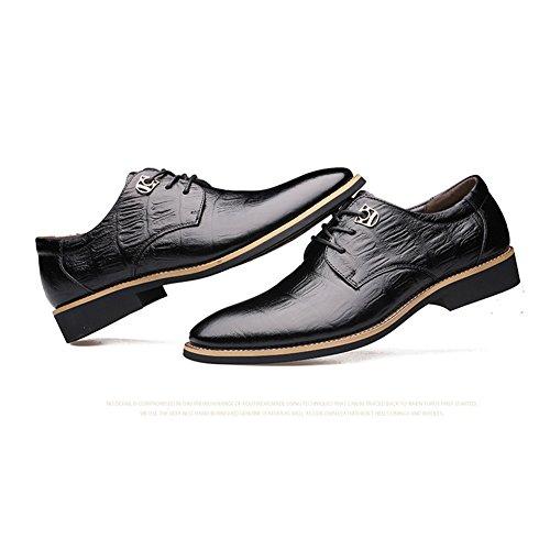 Delamode Hommes Vache En Cuir Véritable Chaussures Business Gaufrage Lacet Point Zapato Noir