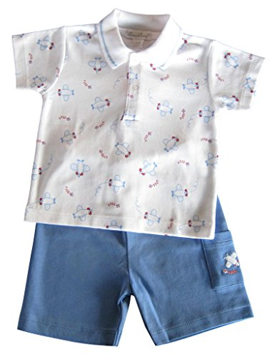 Kissy Kissy Baby-Boys Infant Air Kissy Bermuda Short Set With Collar-White With Blue-0-3 Months