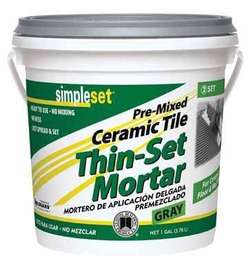 Simpleset Pre-Mixed Ceramic Tile Thin-Set Mortar No-Mix Gray 1 Gl