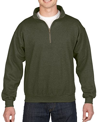 (Gildan Men's Fleece Quarter-Zip Cadet Collar Sweatshirt, Moss Large)