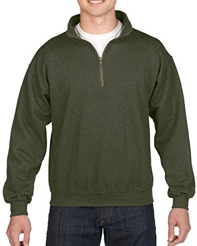 (Gildan Men's Fleece Quarter-Zip Cadet Collar Sweatshirt, Moss Large)