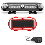 SpeedTech Lights Mini 14 72 Watts LED Strobe Lights for Trucks, Cars, Plows, and Emergency Vehicles with Magnetic Roof Mount in Red/Red