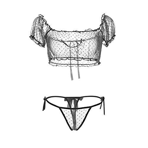 Women's Chiffon Sexy Lingerie 2Pcs Polka Dot Sheer Mesh Underwear Ruffles Off Shoulder Bra and Thong Bikini (Black - Mesh Ruffle Bra Top