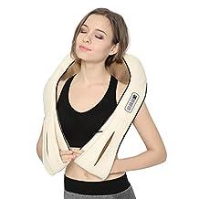 Nekteck Shiatsu Deep Kneading Massage Pillow with Heat, Car/Office Chair Massager, Neck, Shoulder, Back, Waist Massager Pillow [Speed Control, Bi-Direction Control] – Black (Biege)