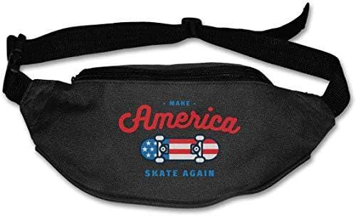 アメリカスケートアゲインユニセックスアウトドアファニーパックバッグベルトバッグスポーツウエストパック