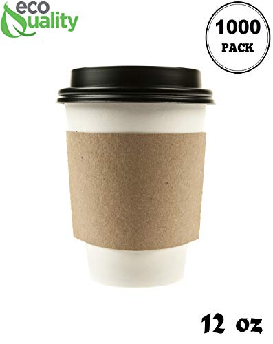 Cup Corrugated (1000 Pack - 12 oz Disposable White Paper Coffee Cups with Black Dome Lids and Protective Corrugated Cup Sleeves - Perfect Disposable Travel Mug for Home, Office, Coffee Shop, Travel, Tea)
