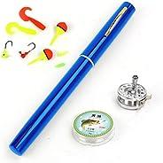 ActionEliters Telescopic Pocket Pen Fishing Rod Pole Reel Combo Set Premium Mini Pocket Collapsible Fishing Po