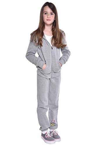 Hoodies Super Butter Soft - Butter Girls' Jacket/Pants Track Set Super Soft Fleece 2-Piece (Gray, X-Small 3/4)