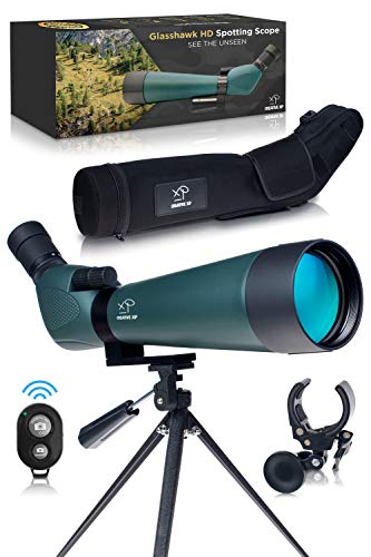 HD Spotting Scope with Tripod 20 - 60x80mm - BAK 4 Prism Spotting Scopes for Target Shooting Hunting Astronomy Bird Watching - 100% Waterproof Shockproof IP67 - Includes Phone Adapter and Clicker