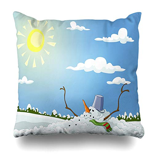 (Ahawoso Throw Pillow Cover Blue Sun Winter Melted Snowman Raster Melt Nature Branch Bucket Carrot Christmas Design Home Decor Zippered Pillowcase Square Size 20 x 20 Inches Cushion Case)