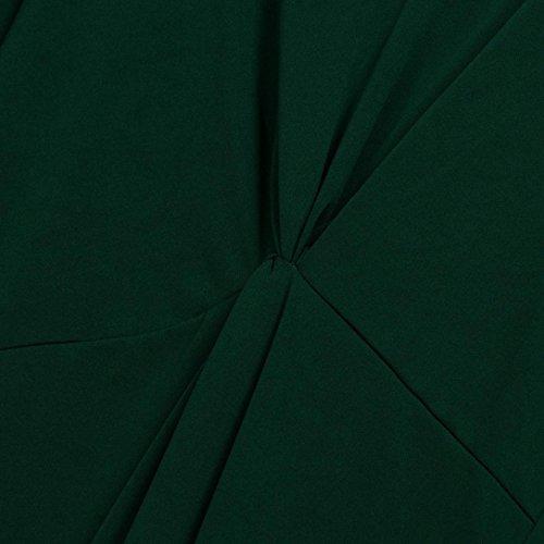 ♪ZEZKT♪übergröße kleider vintage damen,Frauen V-Ausschnitt Frühling Abendkleid Partykleid Plus Size Sommer Lose Brautjungfer Hochzeitskleid Lange Ärmel Einfarbig Große Größe Grün