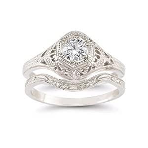 enchanted white topaz bridal set in 925 sterling silver - Topaz Wedding Ring
