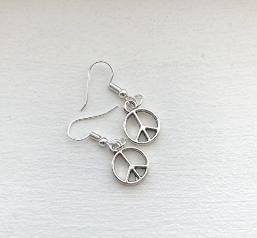 Tone Peace Sign - Handmade silver tone Peace Sign earrings on french hook wires - Peace Earrings - Anti War Jewelry