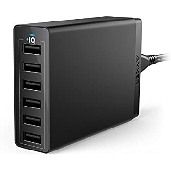 Anker 60W 6-Port USB Wall Charger, PowerPort 6 for iPhone X/ 8/ 7 / 6s / Plus, iPad Pro / Air 2 / mini/ iPod, Galaxy S7 / S6 / Edge / Plus, Note 5 / 4, LG, Nexus, HTC and More