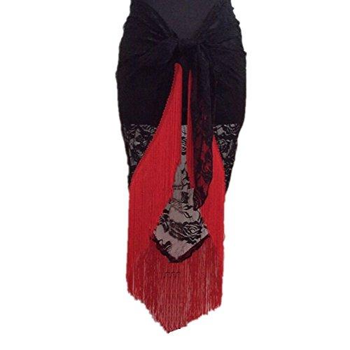 Fringe Hip Belt (Jlong Women Lace Belly Latin Dance Hip Scarf Tassles Fringe Wrap Belt)
