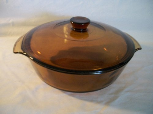 Vintage Pyrex (1.5 qt) Amber Brown Casserole Baking Dish Bowl Ovenware with Lid (023)