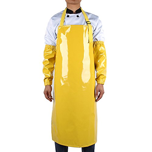 (new Work Bib Apron, Utility Apron, Adjustable for Men & Women, Water and Oil Resistant, Multipurpose Use, Black ,Come with 2 Pieces of Sleeve Covers for Free (Yellow))
