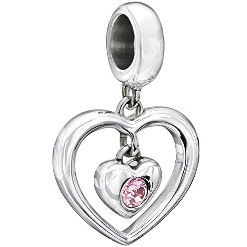 (Chamilia Sterling Silver and Swarovski Crystal Radiant Heart Bead)