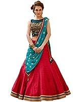ETHNIC VILA Women's Taffeta Silk Embroidered Semi-stitched Lehenga Choli EV-mirror-YELLOW_Red and Blue_Free Size
