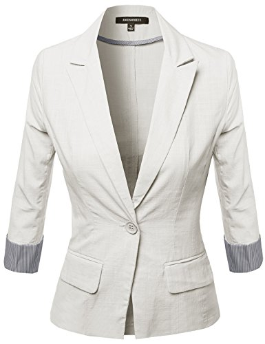 3%2F4+Sleeve+Contrast+Cool+Touch+Fabric+Blazer+White+Size+L