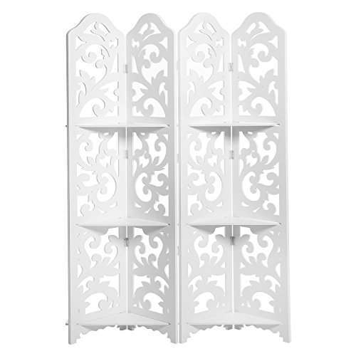 (MyGift White Wood Floral Cut-Out Design 4-Panel Room Divider with 3 Removable Shelves)