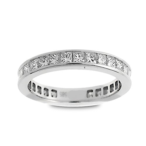 (14K White Gold 1 1/2ct TDW Princess-Cut Diamond Eternity Wedding Band (G-H, SI1-SI2))