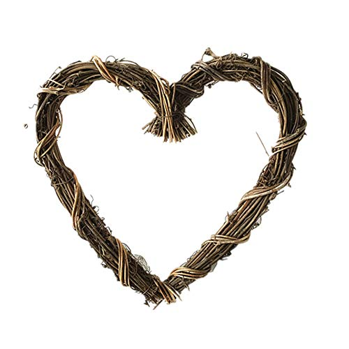 (Zhiheng 2 Pack Christmas Rustic Grapevine Wreath 12 inch Rattan Vine Garland for Home Wedding Party Vintage Decoration (Heart))
