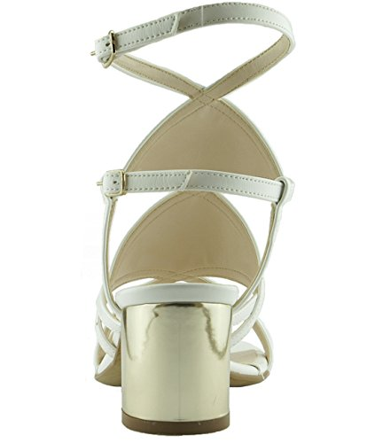 6Carina 101504 Damen Sandalen mit Absatz Weiß/ Platin