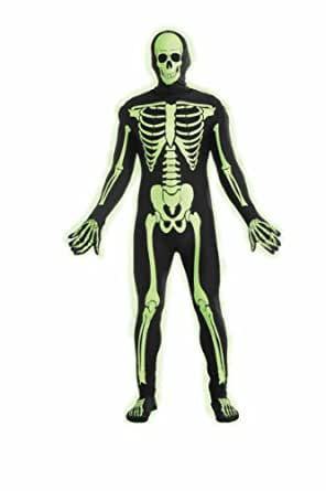 Forum Novelties Women's Teen Disappearing Man Patterned Stretch Body Suit Costume Glow-In-The-Dark Skeleton, Black/White, Small/Medium