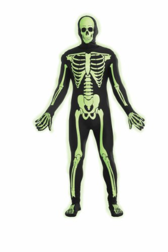 Forum Novelties Women's Teen Disappearing Man Patterned Stretch Body Suit Costume Glow-In-The-Dark Skeleton, Black/White, (Womens Skeleton Costume Glow Dark)