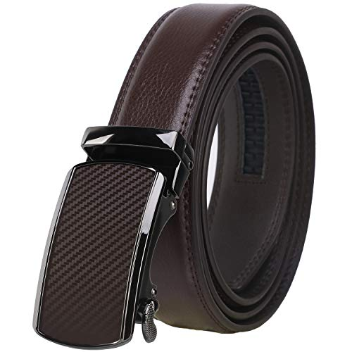 Dante Men's Real Leather Ratchet Dress Belt with Automatic Buckle,Elegant Gift Box(55-44505 Brown ()