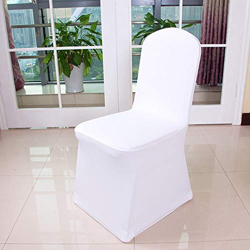 YJYdada 1pcs White Flat Arched Front Covers Spandex Lycra Chair Cover Wedding Party (A) ()