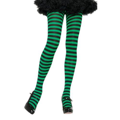 Plus Size Halloween Tights (Leg Avenue Women's Nylon Striped Tights, Black/Kelly Green, One Size)