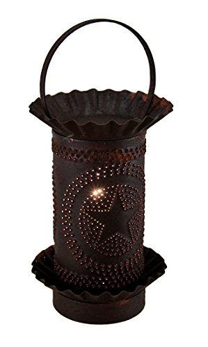 Tin Accent Lamps Rustic Tin Finished Metal Star Punched Mini Tart Warmer Lamp 4.25 X 9 X 4.25 Inches Brown