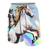 Zhangyi Boy's Black Cat Gun Fire Unicorn Rainbow Summer Swim Trunk
