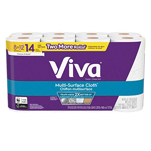 Viva Paper Towels, 2-ply, 97 sheets per roll, 8 Giant Rolls, Multi-Surface Cloth, Strong & Absorbent to trap mess in any room